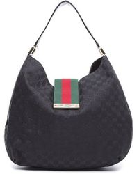 Gucci Preowned Black Monogram Canvas New Ladies Web Large Hobo Bag - Lyst