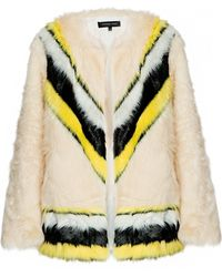 Pixie Market Chevron Stripe Faux Fur Coat - Lyst