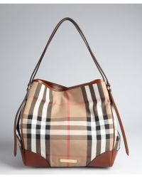 Burberry Taupe and Black Check Canvas and Cocoa Brown Leather Tote - Lyst