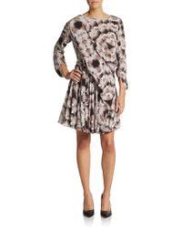 Cacharel Pleated Silk Print Dress - Lyst