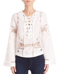 Free People | Bittersweet Lace-up Top | Lyst