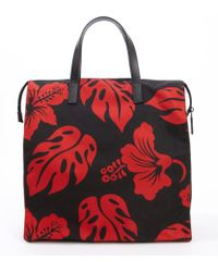 Prada Black and Red Nylon Floral Printed Convertible Shoulder Bag - Lyst