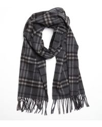 Burberry Dark Charcoal Check Cashmere Fringe Scarf - Lyst