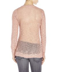 Pink Rose - Scoop Neck Pointelle Knit Sweater - Lyst
