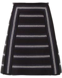 Chloé Textured Striped Aline Skirt - Lyst