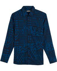 5f5421e4 Burberry Brit - Printed Cotton Shirt - Blue - Lyst