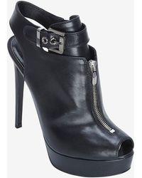 Sergio Rossi Dalston Zipper Detail Peep Toe Sandal Black - Lyst