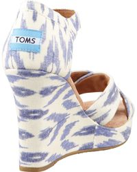 Toms Printed Hemp Strappy Wedge Sandal Ikat - Lyst