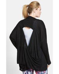 Zella 'Athena' Open Back Drape Cardigan - Lyst