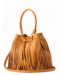 Milly Essex Fringe Drawstring brown - Lyst