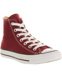 Converse All Star Canvas Hightops Maroon - Lyst