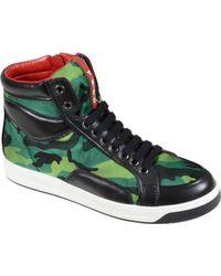 Prada Sneaker Medio Alta Nylon Camouflage Pelle Di Vitello V - Lyst