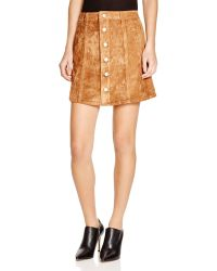 Olivaceous - Faux Suede Button-front Skirt - Lyst