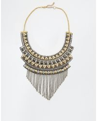 Asos Triangles Chain Bib Necklace - Lyst