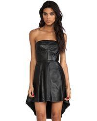 Shakuhachi - Sculpted Leather Bustier Kick Dress in Black - Lyst