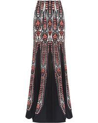 Roberto Cavalli Abstract Feather Print Maxi Skirt - Lyst