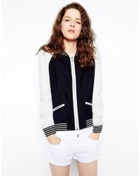 Greylin - London Bomber Jacket With Perforated Sleeves - Lyst