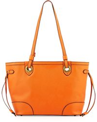orYANY Amber East-West Saffiano Leather Tote Bag orange - Lyst