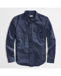 J.Crew Factory Indigo Shirt in Textured Stripe - Lyst
