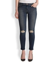 J Brand Distressed Cropped Skinny Jeans - Lyst
