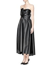 Lanvin Drape Faux Leather Bustier Dress - Lyst