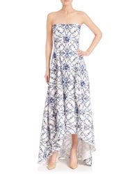 Notte by Marchesa | Strapless Printed Hi-lo Gown | Lyst