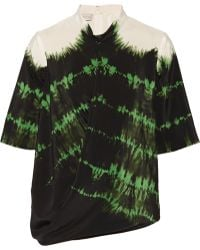 Stella McCartney Draped Tie-dyed Silk-crepe Top - Lyst