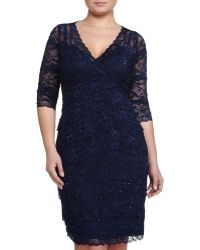 Marina Beaded Lace 3/4-Sleeve Dress, Navy - Lyst
