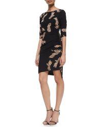 Tracy Reese - 3/4-sleeve Feather-print Asymmetric-hem Dress - Lyst