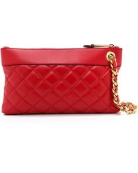 Moschino Quilted Clutch - Red - Lyst