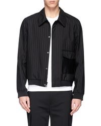 3.1 Phillip Lim Leather Patch Pocket Wool Harrington Jacket - Lyst