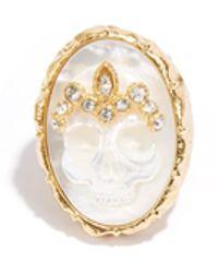 Alexis Bittar Gold Skull Ring - Lyst