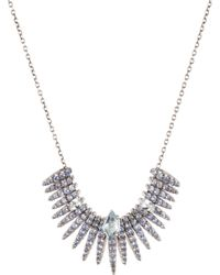 Alexis Bittar Blue Sapphire And Midnight Quartz Pave Bar Necklace silver - Lyst