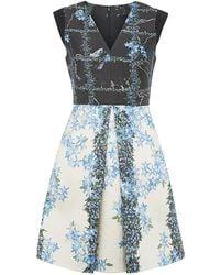 Tibi Windowpane Floral Dress - Lyst