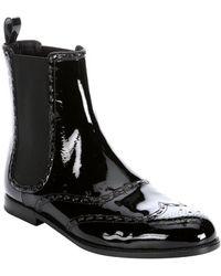 Bottega Veneta Black Patent Leather Wingtip Chelsea Boots - Lyst