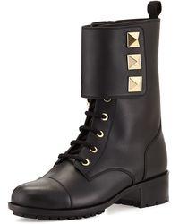 Valentino Rockstud Leather Combat Boot - Lyst