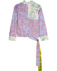 Jonathan Saunders - Helen Printed Silk-twill Wrap Top - Lyst