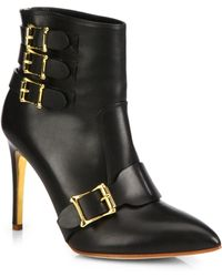 Rupert Sanderson Leather Buckle Point Toe Booties - Lyst
