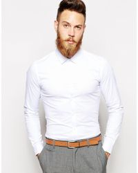 Asos Smart Shirt in Long Sleeve with Stretch - Lyst