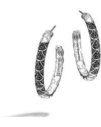 John Hardy Black Hoop Earrings - Lyst