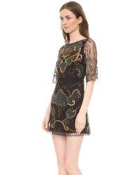 Alice + Olivia Drina Embroidered Bell Sleeve Dress Black Multi - Lyst