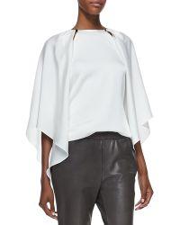 Halston Heritage Slit-shoulder Layered Silk Blouse - Lyst