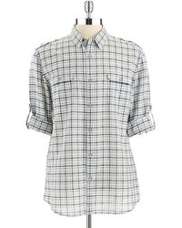 DKNY Plaid Rolltab Shirt - Lyst
