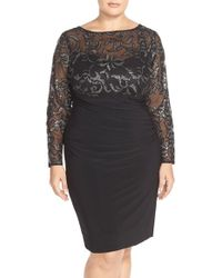 Marina - Sequin Illusion & Jersey Side Ruched Sheath Dress - Lyst