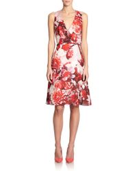 Carolina Herrera Floral Silk Dress - Lyst