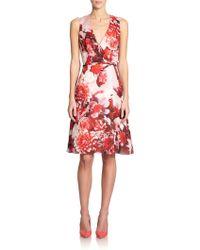 Carolina Herrera Floral Silk Dress - Lyst