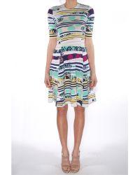 Kenzo Torn Printed Flared Dress - Lyst
