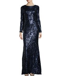 Badgley Mischka Long-sleeve Sequined Paisley Gown - Lyst