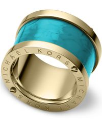 Michael Kors Goldtone Turquoise Barrel Ring - Lyst