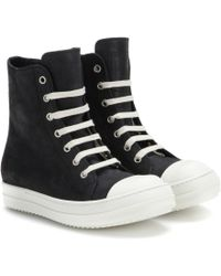 Rick Owens High-Top Leather Sneakers - Lyst